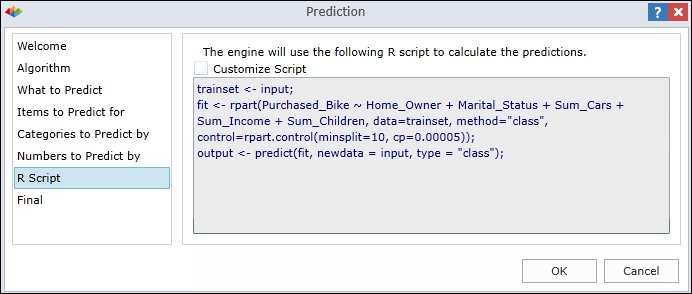 Prediction Wizard Dialogs